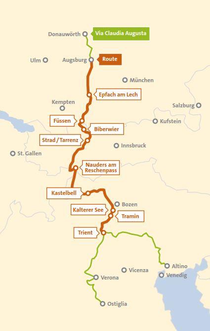 Sudtirol Karte Osterreich Italien.Alpen Radler De Alpencross Auf Der Via Claudia Augusta